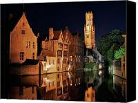Medieval Canvas Prints - Brugge Night Canvas Print by Adam Romanowicz