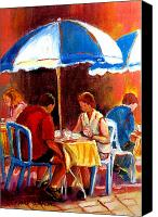 Hockey In Montreal Painting Canvas Prints - Brunch At The Ritz Canvas Print by Carole Spandau
