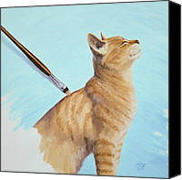 Tabby Painting Canvas Prints - Brushing the Cat Canvas Print by Crista Forest