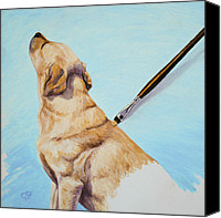 Dogs Painting Canvas Prints - Brushing the Dog Canvas Print by Crista Forest