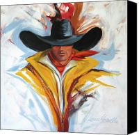 Riding Canvas Prints - Brushstroke Cowboy Canvas Print by Lance Headlee