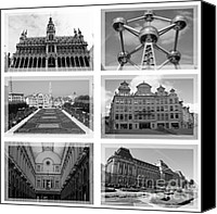 Brussels Canvas Prints - Brussels Collage - Black and White Canvas Print by Carol Groenen