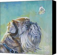 Brussels Canvas Prints - Brussels Griffon with Butterfly Canvas Print by Lee Ann Shepard