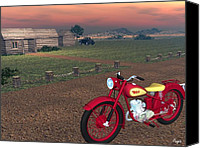 Bsa Canvas Prints - BSA Bantam Canvas Print by John Pangia