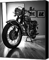 Bsa Canvas Prints - BSA MotorCycle Canvas Print by Mike Schaalje