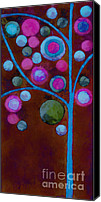 Paint Digital Art Canvas Prints - Bubble Tree - w02d - Left Canvas Print by Variance Collections