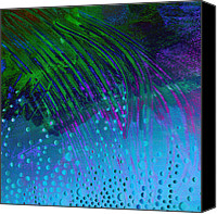 Annpowellart Canvas Prints - Bubbles Blue and  Green  Canvas Print by Ann Powell
