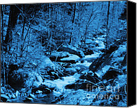 Nature Photography Special Promotions - Bubbling Brook In Blue Canvas Print by Smilin Eyes  Treasures