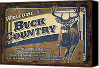 Whitetail Buck Canvas Prints - Buck Country Sign Canvas Print by JQ Licensing
