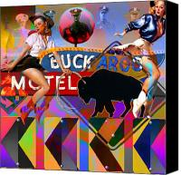 Pin-up Painting Canvas Prints - Buckaroo Motel Canvas Print by Robert Anderson