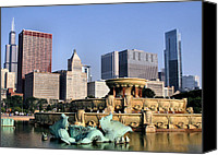 Sears Tower Canvas Prints - Buckingham Fountain - 4 Canvas Print by Ely Arsha