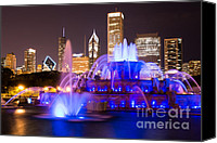 Chicago Canvas Prints - Buckingham Fountain at Night with Chicago Skyline Canvas Print by Paul Velgos