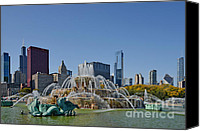 Vintage Canvas Prints - Buckingham Fountain Chicago Canvas Print by Christine Till