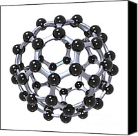 Science Lab Digital Art Canvas Prints - Buckminsterfullerene or Buckyball C60 18 Canvas Print by Russell Kightley