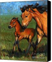 Foal Painting Canvas Prints - Buckskin and Baby Canvas Print by Pat Burns