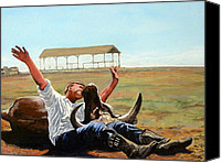 American Pastime Canvas Prints - Bucky Gets the Bull Canvas Print by Tom Roderick