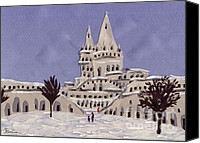 Winter-landscape Tapestries - Textiles Canvas Prints - Budapest Fisher Bastion Canvas Print by Marina Gershman