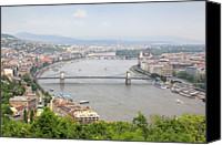 Danube Canvas Prints - Budapest With Chain Bridge Canvas Print by Romeo Reidl