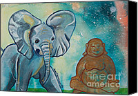 Baby Elephant Canvas Prints - Buddha and Divine Baby Elephant Canvas Print by Ilisa  Millermoon