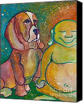 Hound Canvas Prints - Buddha and Divine Basset Hound Canvas Print by Ilisa  Millermoon