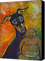 Pinscher Canvas Prints - Buddha and Pinscher Canvas Print by Ilisa  Millermoon