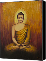 Tibetan Buddhism Painting Canvas Prints - Buddha meditation Canvas Print by Yuliya Glavnaya