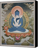 Thangka Canvas Prints - Buddha Shakti Thangka Canvas Print by Tag