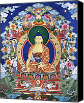 Tibetan Buddhism Tapestries - Textiles Canvas Prints - Buddha Shakyamuni and the Six Supports Canvas Print by Leslie Rinchen-Wongmo