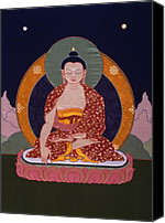 Tibetan Buddhism Tapestries - Textiles Canvas Prints - Buddha Shakyamuni Canvas Print by Leslie Rinchen-Wongmo