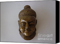 Home Decor Sculpture Canvas Prints - Buddha Wall Hanging Face Canvas Print by Warli Tribesman Artists