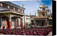 Tibetan Canvas Prints - Buddhist Monastery in full attendance Canvas Print by Nila Newsom