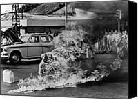 War Canvas Prints - Buddhist Monk Thich Quang Duc, Protest Canvas Print by Everett