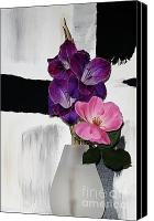 Purple Gladiolas Canvas Prints - Budding Friends Canvas Print by Marsha Heiken