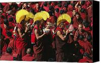 Tibetan Buddhism Canvas Prints - Buddist Monks At Nechung Monastery Canvas Print by Maria Stenzel