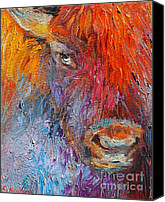Buffalo Drawings Canvas Prints - Buffalo Bison wild life oil painting print Canvas Print by Svetlana Novikova