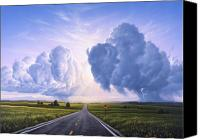 Road Painting Canvas Prints - Buffalo Crossing Canvas Print by Jerry LoFaro