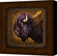 Tribal Art Painting Canvas Prints - Buffalo Lodge Canvas Print by JQ Licensing