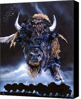 Buffalo Mixed Media Canvas Prints - Buffalo Medicine Canvas Print by J W Baker