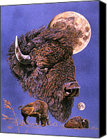 Bison Pastels Canvas Prints - Buffalo-Moon series Canvas Print by Turea Grice