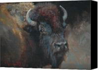 Buffalo Painting Canvas Prints - Buffalo Portrait Canvas Print by Jim Clements
