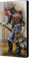 Soldier Painting Canvas Prints - Buffalo Soldier Outfitted Canvas Print by Harvie Brown