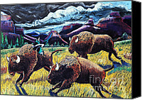 Bison Pastels Canvas Prints - Buffaloes Race the Storm Canvas Print by Harriet Peck Taylor