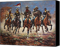 Black Horse Canvas Prints - Bugler And The Guidon Canvas Print by Harvie Brown