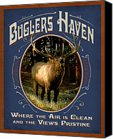 Elk Canvas Prints - Buglers Haven Sign Canvas Print by JQ Licensing