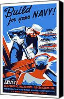 Us Navy Canvas Prints - Build For Your Navy  Canvas Print by War Is Hell Store