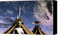 Rocketship Canvas Prints - Builders Of The Mayan Pyramids Visit Canvas Print by Mark Stevenson