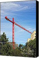 Featured Special Promotions - Building Crane Canvas Print by Lori Frostad