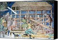 Noah Canvas Prints - Building Noahs Ark, 14th Century Fresco Canvas Print by Sheila Terry