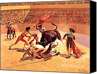 Remington Canvas Prints - Bull Fight In Mexico Canvas Print by Frederic Remington