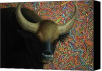 Animal Canvas Prints - Bull in a Plastic Shop Canvas Print by James W Johnson